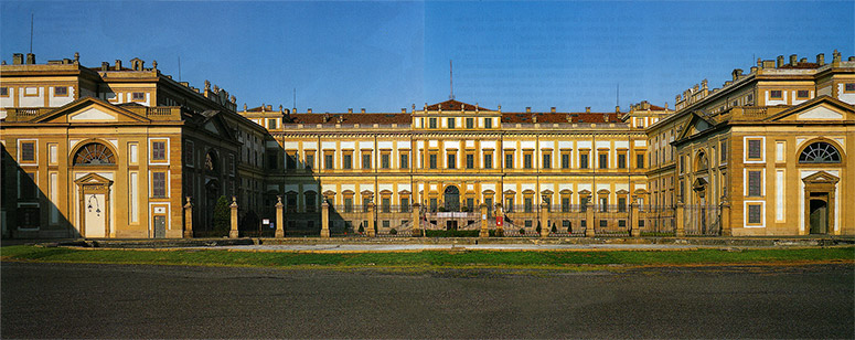 Shot of front facade of Villa Reale of Monza